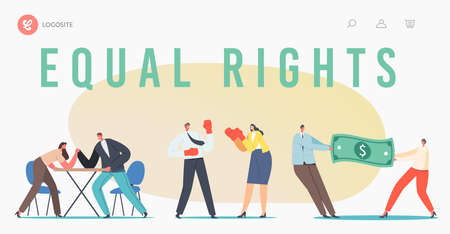Man and Woman Struggle for Equal Gender Rights Landing Page Template. Male Female Characters Arm Wrestling Battle