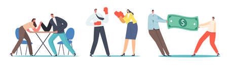 Man and Woman Struggle Concept. Male and Female Characters Arm Wrestling Battle, Fight in Boxing Gloves, Competition