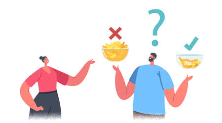 Male and Female Characters Compare Big and Small Bowls with Potato Chips. People Perform Fake Packaging Marketing Tricks