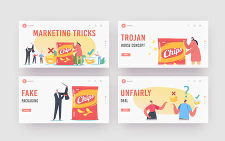 Fake Packaging Marketing Tricks Landing Page Template Set. Tiny Characters at Huge Bowls with Potato Chips
