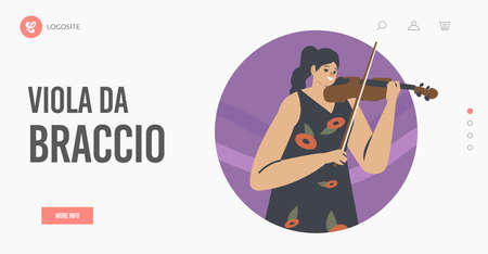 Viola da Braccio Landing Page Template. Musician Female Character Play Violin Stringed Instrument Perform on Stage Vettoriali
