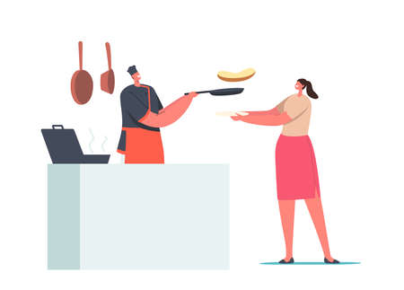 Female Character Order Meal in Cafe. Woman Holding Plate front of Desk with Chef Frying Sausage and Making Toasts