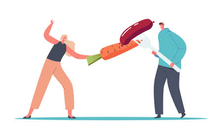 Tiny Male Female Characters Fencing with Huge Carrot and Sausage on Fork. Adherents of Healthy and Unhealthy Nutrition