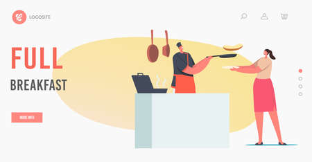 Full Breakfast Landing Page Template. Female Character Order Meal in Cafe. Woman Holding Plate front of Desk with Chef