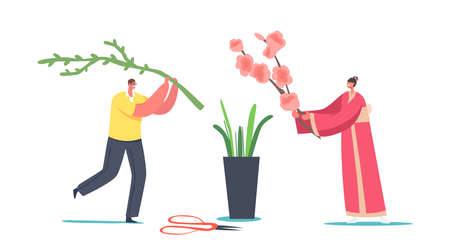 Japanese Ikebana Concept. Tiny Male Female Character in Traditional Japan Kimono Create Floristic Flowers Composition  イラスト・ベクター素材