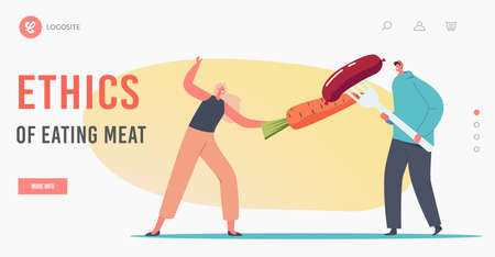 Ethic of Eating Meat Landing Page Template. Tiny Characters Fencing with Carrot and Sausage. Healthy Unhealthy Nutrition