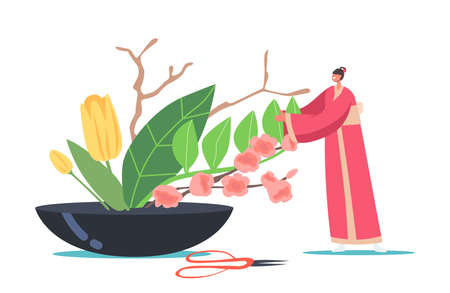 Asian Culture and Art. Japanese Ikebana Concept. Tiny Woman in Traditional Japan Kimono Create Floristic Composition  イラスト・ベクター素材