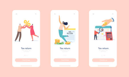 Tax Return Mobile App Page Onboard Screen Template. Tiny Characters Getting Money Refund for Purchasing, Service