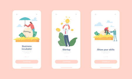 Business Incubator Startup Mobile App Page Onboard Screen Template. Tiny Businesspeople Characters Growing Start up Ilustracje wektorowe