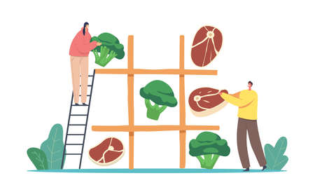 Vegetarian or Meaty Nutrition Choice. Tiny Male or Female Characters Playing Huge Noughts and Crosses Game with Products  イラスト・ベクター素材