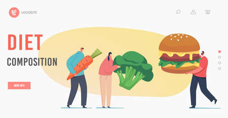 Diet Composition Landing Page Template. Meat Eater vs Vegetarian Meals Choice. Tiny Characters with Carrot, Broccoli