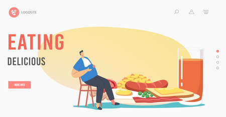 Delicious Eating Landing Page Template. Male Character Sit at Huge Plate with Traditional English Full Fry Up Breakfast  イラスト・ベクター素材
