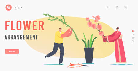 Flower Arrangement Landing Page Template. Japanese Ikebana. Tiny Character in Kimono Create Floristic Composition
