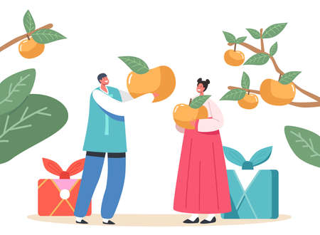 Chuseok Tteok Korean Tradition Concept. Happy Asian Kids Characters Wearing Traditional Costumes Hanbok Hold Persimmons  イラスト・ベクター素材