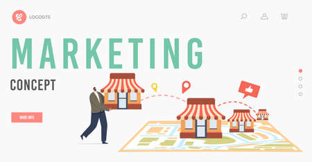 Marketing, Franchise Business Concept Landing Page Template. Tiny Male Character Put Kiosk on Huge Map, Small Enterprise