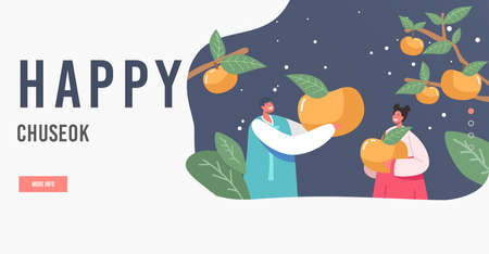 Happy Chuseok Landing Page Template. Happy Asian Kids Characters Wearing Traditional Costumes Hanbok Holding Persimmons