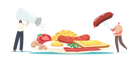 Tiny Male and Female Characters at Huge Plate with English Full Fry Up Breakfast Bacon, Sausages with Fried Egg, Beans  イラスト・ベクター素材