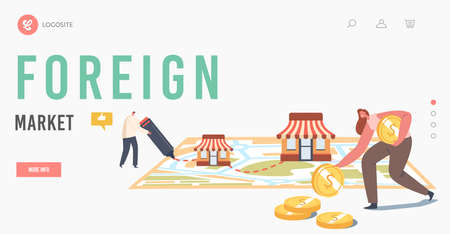 Foreign Market Landing Page Template. Franchise, SME Development, Franchising. Small, Medium Enterprise Expansion  イラスト・ベクター素材