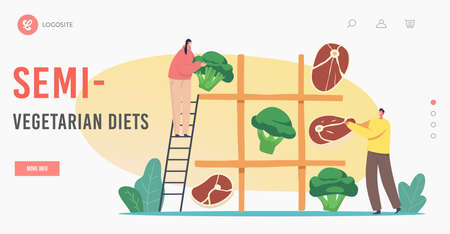 Semi-Vegetarian Diet Landing Page Template. Vegetarian or Meat Choice. Tiny Characters Playing Huge Noughts and Crosses  イラスト・ベクター素材