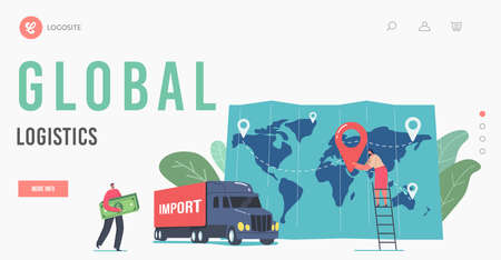 Global Logistics Landing Page Template. Cargo Export and Import. Tiny Business Man Character Carry Money Bill