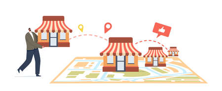 Franchise Business Concept. Tiny Male Character Put Kiosk on Huge Map. Businessman Start Small Enterprise Expansion  イラスト・ベクター素材
