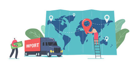 Cargo Export and Import, Logistics Concept. Tiny Business Man Character Carry Huge Money Bills near Truck and Huge Map Vecteurs