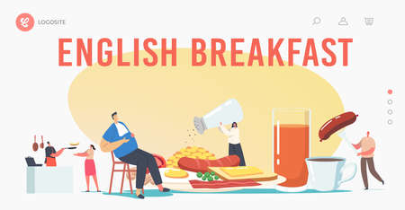 English Full Fry Up Breakfast Landing Page Template. Tiny Characters at Huge Plate Having Meal Bacon, Sausages with Eggs