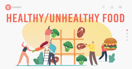 Healthy and Unhealthy Food Landing Page Template. Tiny Characters Playing Huge Tic-tac-toe with Meat, Veggies, Fast Food  イラスト・ベクター素材