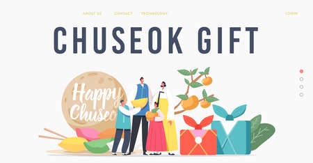 Chuseok Tteok Landing Page Template. Happy Asian Family with Kids Characters Wearing Traditional Costumes Hanbok