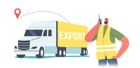 Worker Male Character in Uniform with Walkie-Talkie Stand at Truck with Freight for Export Import. Transport Logistics