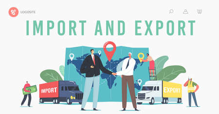 Cargo Export and Import, Logistics Landing Page Template. Business Characters Shaking Hands near Trucks and Huge Map  イラスト・ベクター素材