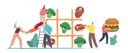 Tiny Male and Female Characters Playing Huge Tic-tac-toe Game with Healthy and Unhealthy Products Meat and Vegetables