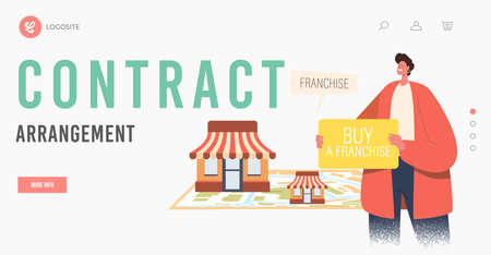 Contract Arrangement Landing Page Template. Male Character Holding Banner with Inscription Buy Franchise, Franchising