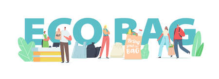 People Visit Shop with Reusable Eco Bags Concept. Characters Use Ecological Packing for Shopping in Store Banner