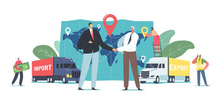 Cargo Export and Import, Logistics Concept. Business Partners Characters Shaking Hands near Freight Trucks and Huge Map