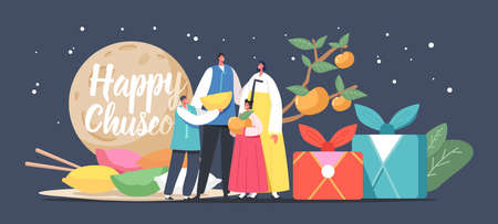 Chuseok Tteok Korean Tradition Concept. Happy Asian Family with Kids Characters Wearing Traditional Costumes Hanbok
