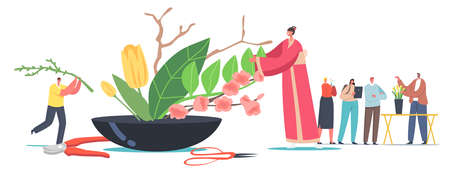 Japanese Ikebana Concept. Tiny Female Character in Traditional Japan Kimono Create Beautiful Floristic Composition of Flowers