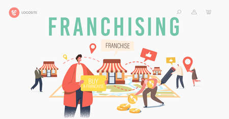 Franchising Landing Page Template. Tiny Characters Put Kiosks on Huge Map. People Start Franchise Small Enterprise