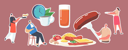 Set Stickers Characters Have English Full Fry Up Breakfast Bacon, Sausages with Fried Eggs, Beans and Toast with Tomato