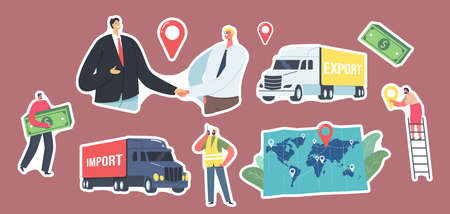 Set of Stickers Cargo Export and Import, Logistics Theme. Business Partners Characters Shaking Hands, Freight Truck, Map