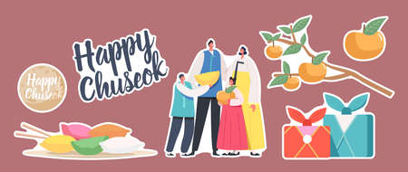 Set Stickers Chuseok Tteok Korean Tradition Theme. Characters Wearing Traditional Costumes Hanbok, Songpyeon Rice Cakes