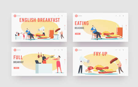 English Full Fry Up Breakfast Landing Page Template Set. Tiny Characters at Huge Plate Eat Bacon, Sausages with Eggs
