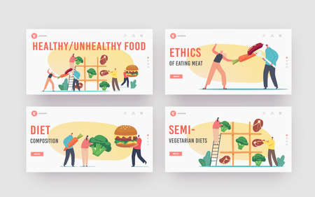 Healthy and Unhealthy Food Landing Page Template Set. Tiny Characters Playing Huge Tic-tac-toe with Meat and Vegetables  イラスト・ベクター素材