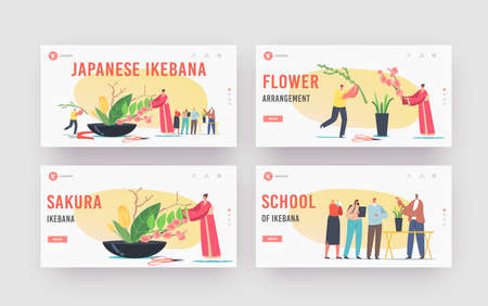 Japanese Ikebana Landing Page Template Set. Female Character in Traditional Japan Kimono Create Floristic Composition  イラスト・ベクター素材