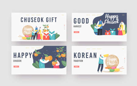 Chuseok Tteok Landing Page Template Set. Happy Asian Family with Kids Characters Wearing Traditional Costumes Hanbok