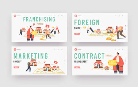 Franchising Landing Page Template Set. Characters Put Kiosks on Huge Map. People Start Franchise Small Enterprise
