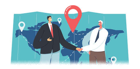 Cargo Export Import, Logistics. Business Partners Characters Shaking Hands near Huge Map with Freight Destination Points