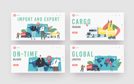 Cargo Export and Import, Logistics Landing Page Template Set. Business Characters Shaking Hands near Trucks and Map  イラスト・ベクター素材