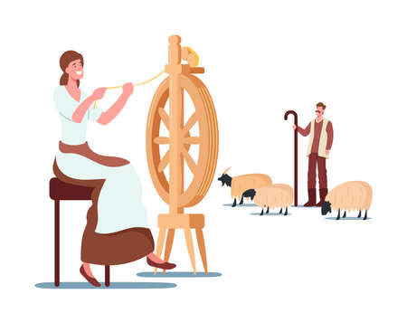 Cashmere Producing Concept. Woman Spinning Wool on Wheel, Shepherd Grazing Mountain Goats, Wool Ecological Textile