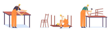 Workers Carpenter Characters with Instruments Working in Workshop. Joiners Make Carpentry Woodwork Drill Wooden Table  イラスト・ベクター素材
